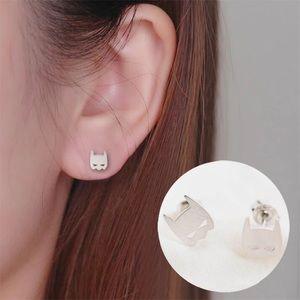 🎉 New Silver Plated Batman Stud Earrings